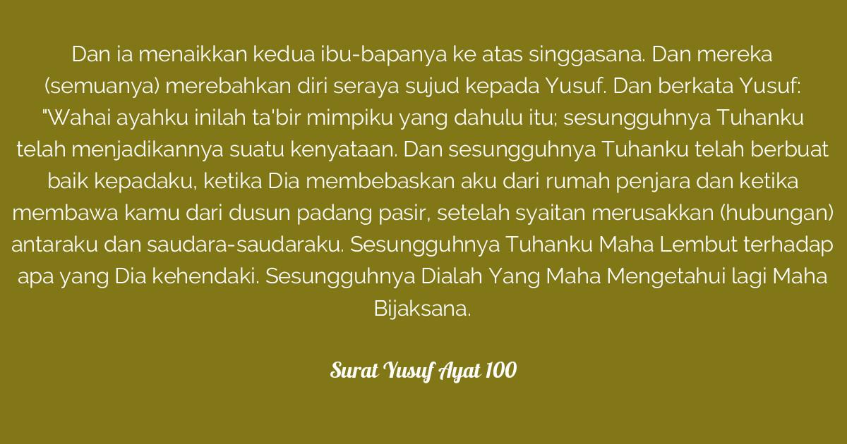Surat Yusuf Ayat 100 Tafsirqcom