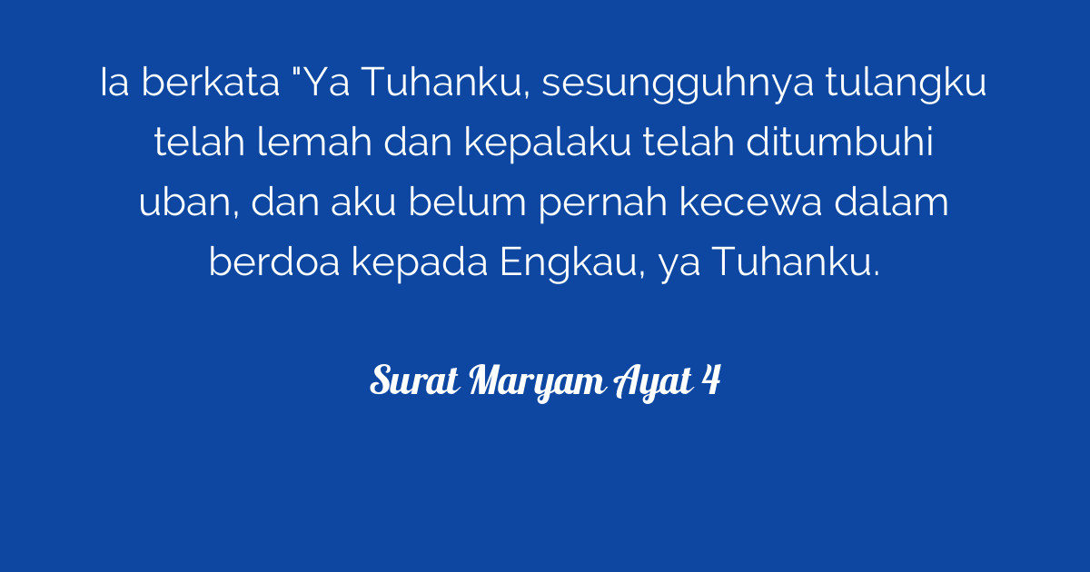 Surat Maryam Ayat 4 Tafsirqcom