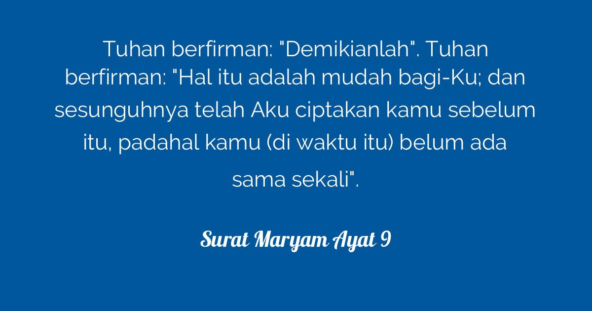 Surat Maryam Ayat 9 Tafsirqcom