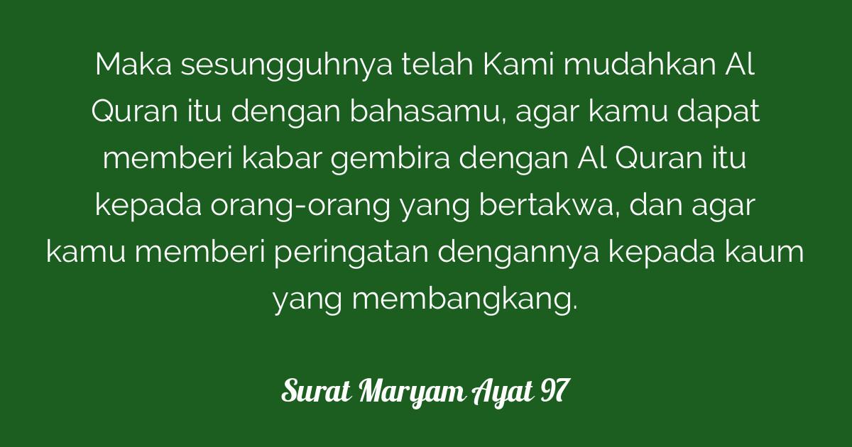 Surat Maryam Ayat 97 Tafsirqcom