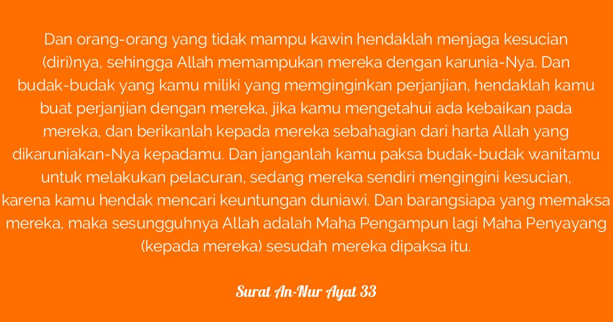 Surat An Nur Ayat 33 Tafsirqcom