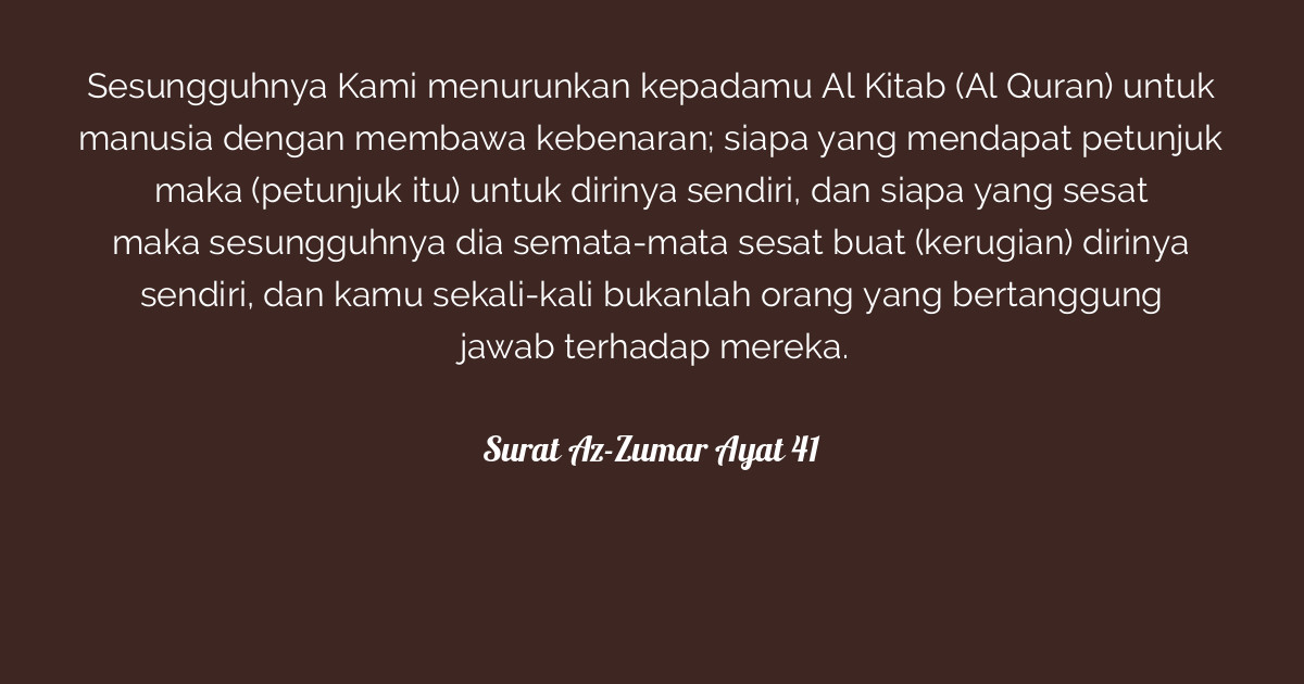 Surat Az Zumar Ayat 41 Tafsirqcom