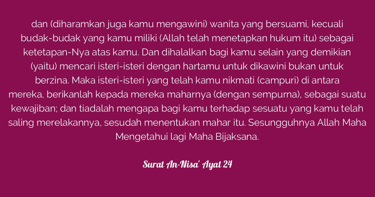 Surat An Nisa Ayat 24 Tafsirqcom