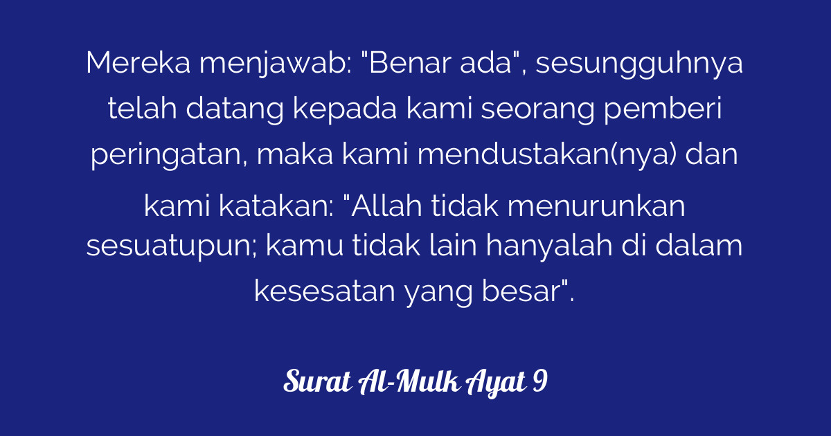 Surat Al Mulk Ayat 9 Tafsirqcom
