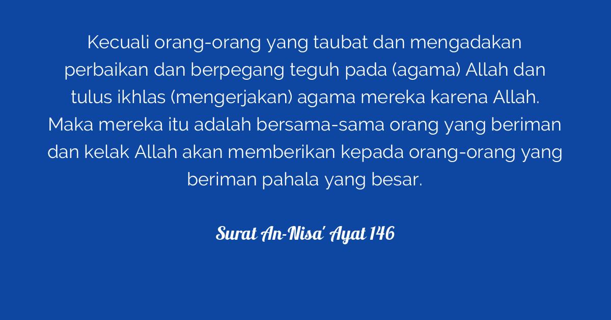 Surat An Nisa Ayat 146 Tafsirq Com